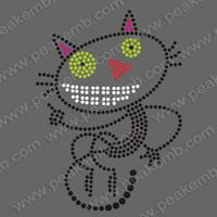 Free Shipping Wholesale Cute Cat Rhinestone Applique Heat Press Motif For Apparel 50Pcs/Lot Custom Design Acceptable