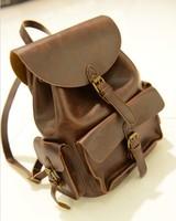 Black/Brown New 2013 PU leather bags vintage school bag, British style backpack women/men double shoulder bags brand BP51