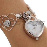 Silver Alloy Link Band Heart Dial Quartz Movement Bracelet Watch Wristwatch