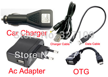 EU Plug Wall Charger Adapter 5V 2A + DC Car Charger USB Port + Data Cable for Kocaso M870 LJS-186 Window N70 Tablet PC