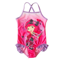 Hot spring child 2013 baby swimwear one-piece swimsuit female child strawberry princess