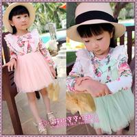 2013 new autumn models girls dress girls ages 2-9 Green Pink Floral 4-layer cotton gauze princess dress lace dress