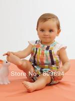 wholesale girl casual suit, short sleeve t shirt + plaid shorts, 5set/lot free shipping