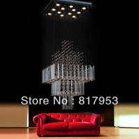 Modern minimalist chandelier crystal rods penthouse living room staircase chandelier crystal chandelier lamp hotel project shipp