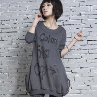 new 2013 casual dress Plus size clothing autumn mm long sleeve length t-shirt clothes pocket new arrival Large  free shipping