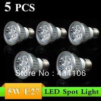 Free shipping~5PCS Excellent 5W E27 AC85~265V white/warm white LED Bulb Light