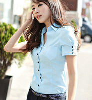 new 2013 casual dress Summer women's plus size shirt mm plus size plus size xxxxl short-sleeve shirt 296  free shipping