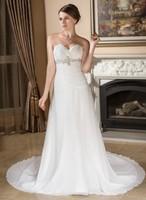 A-Line/Princess Sweetheart Chapel Train Chiffon Wedding Dress With Ruffle Beadwork Sequins HWGJWD229