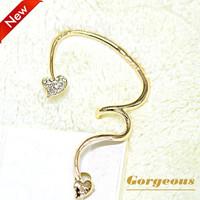 European 16K Genuine Gold Plated Leaf Earcuff, Rhinestone Ear Cuff Earrings For Women, A005