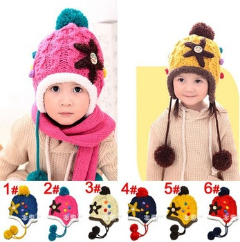 2013 1pc  6 colors New Arrival Children Knitted Hatswarm hat knitted hat Winter crochet Hat baby caps Free Shipping H25