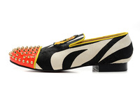 Free shipping 2013 fashion Genuine leather shoe men's flats shoes, 921 casual shoes Zebra, head nailing, Gold embroidery