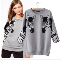 2013 zebra women's hoodies Punk bulldog womens fashion sweater  womens fashion sweater BFH012 free shipping