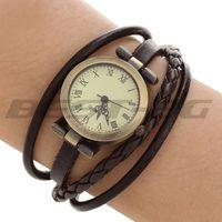 PU Band Round Dial Roman Numerals Quartz Wrap Bracelet Wristwatch Watch Gift