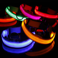 5 pcs **Free shippingNew Safety  Pink Coor Dog Pets Leads  Nylon6 Colors  LED Collar Light-up Flashing Glow LED Collar S M L XL