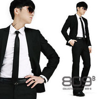 2013 New Men's Formal Jacket Fashion Suit Casual Slim Fit One Button Blazer Coat Jacket Black White(S-XXXL) Free Shipping