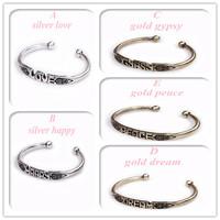 Minimum Order $20 (mixed order)  Shipping Metal lettering carved patterns bracelet