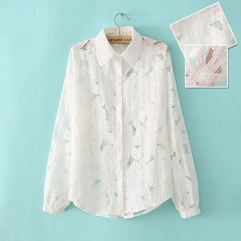 2013 perspectivity cutout sexy shirt flower fluid long-sleeve shirt white women's plus size