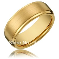 Free Shipping USA Hot Selling 8MM Men's Tungsten Carbide Gold Wedding Band Ring with Flat Brushed Top and Polished Finish Edges