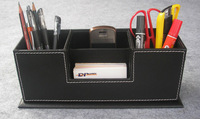 wooden struction leather surface desk  multi-function stationery organizer with double pen pencil holder box case Black A123