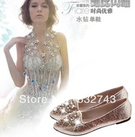 Sweet gentlewomen 2013 fashion single shoes rhinestone beaded flat flats dipper shoes princess shoes