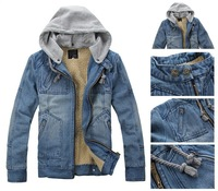 2014 tops cotton Free shipping Men's Hoodie Jeans Jacket coat outerwear hooded Winter coat thickening denim jacket coat for men