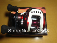 Free shipping  Bait  Casting fishing reel  Left hand style  One-way+ 7 ball bearing  Red  Gear Ratio: 6.3:1