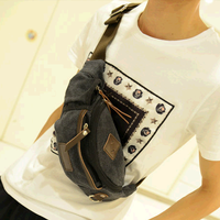 2013 casual small male waist pack chest pack sports mobile phone waist pack canvas male bag