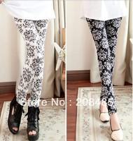 New fashion Skinny Strech Women legging pants outfits Black+White Printed Graffiti Capris One Size