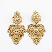 Gold Charm hollow out  Pierced  flower bohemian luxuriant drop earring