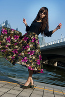 Autumn linen skirt full dress skirt expansion skirt bust skirt dress cq10.7-5