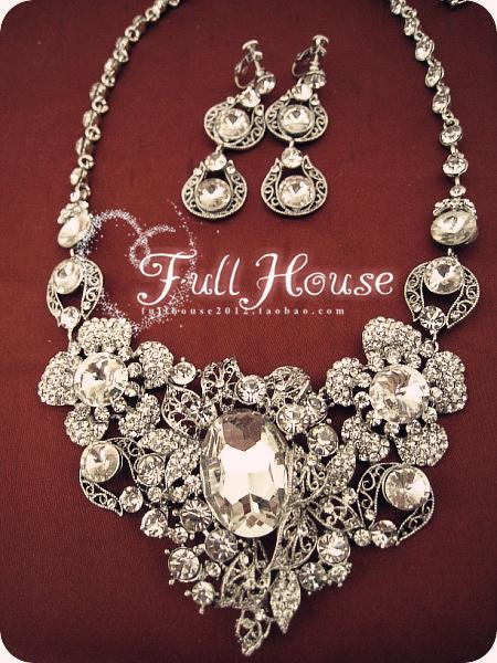 Ultralarge quality rhinestone luxury the bride necklace set Large earrings bride chain sets marriage accessories