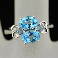 Jewelry natural crystal natural blue topaz stone ring 925 pure silver