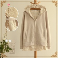 2013 hooded sweaters short sweet casual zipper jacket lace sweatshirt female