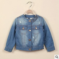 2013 new baby boys fashion winter denim jackets long sleeve thick jean coats for girls childrens clothing 2T-8T