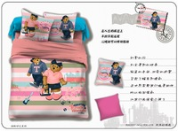 Wholesale of 100cotton queen bear family bedding sets 4pcs duvet cover sheet  /bedclothes/bed comforter /quilt cover(HKY0020)