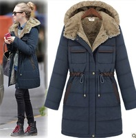 Free Shipping Brand New 2013 Winter Women Wadded Jacket Female Thickening Medium-Long Cold-Proof Cotton-Padded Jacket LW92310
