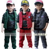 Children's clothing child 2013 male female child sweatshirt three pieces set child outerwear wadded jacket