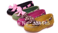 Wholesale 2013 autumn popular  girls beautiful bowknot shoes girl Peas shoes  children dancing shoes  5 pieces/lot