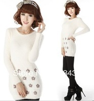 2013new Women's sweet embroidery flower slim high quality mohair medium-long basic sweater