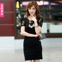 new 2013 casual dress Summer puff sleeve slim one-piece dress black lace skirt plus size bust 80 - 120  free shipping
