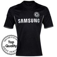 Free Shipping 13/14 Chelsea 3rd Away Blank Black Jersey 2013-14 Cheap Shirt Soccer Uniforms Football Kit