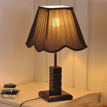 Retro wooden creative fashion modern Chinese bedroom bedside lamp decorative lamp IKEA hotels married