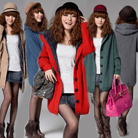 2013 Fashion Autumn And Winter Sweater Plus Velvet Thickening Outerwear With A Hood Women's Qualitied Cardigan Hot Sale Style