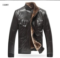 2013 New Autumn Winter Brand Men Fur Leather Jacket Coat genuine Man Outwear Outdoor Fall Plus Large Size