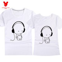 Short-sleeve T-shirt 100% cotton cartoon headset print lovers male women's short-sleeve t-shirt