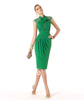 Real Sample Green Knee Length Short Sleeve Party Dresses Formal Graduation Lace Evening Dress 2014