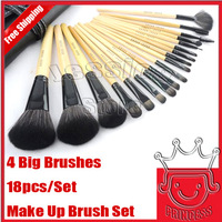 18 PCS Professional Makeup Brush Set Make up Sets Tools with leather case, Free Shipping world wide