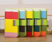 Three color series Wallet PU Leather Case Protector Case Cover Skin with Holder and Card Slot for Apple iPhone 5C