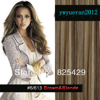 "20"" 22""24""26"" 28"" 30""32""34"" 10pcs 180g DELUXE THICK full head  100% human hair extension clip in/on #6/613 mix  brown& blonde"