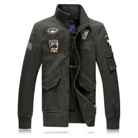Military Quality Air Force Male Washed Jacket Plus Size XXXXL Men's Canvas Coat Embroidery Eagle Flag Badge US Army Jackets